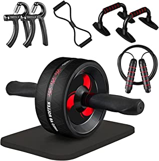 Jareo Ab Roller Wheel,9-in-1Workout Equipment for Abdominal & Core Strength Training with Pull rope,Push Up support,skippi...
