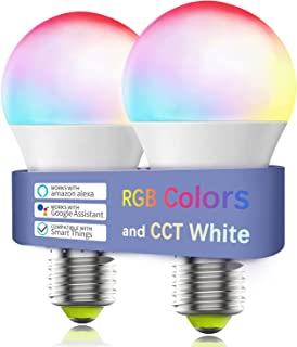 Smart Light Bulb No Hub Required, Zombber A19 E27 7w (60w Equivalent) 2700k-6500k Dimmable Multicolor WiFi LED Bulb, Compa...