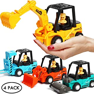 Construction Toys 4 Pack Set with Excavator, Bulldozer, Road Roller, Lift Truck Toys, Friction Powered Push and Go Toy Cars for Toddlers, Kids, 3,4,5,6 Year Old Boy, Girl, Sandbox Trucks Vehicles