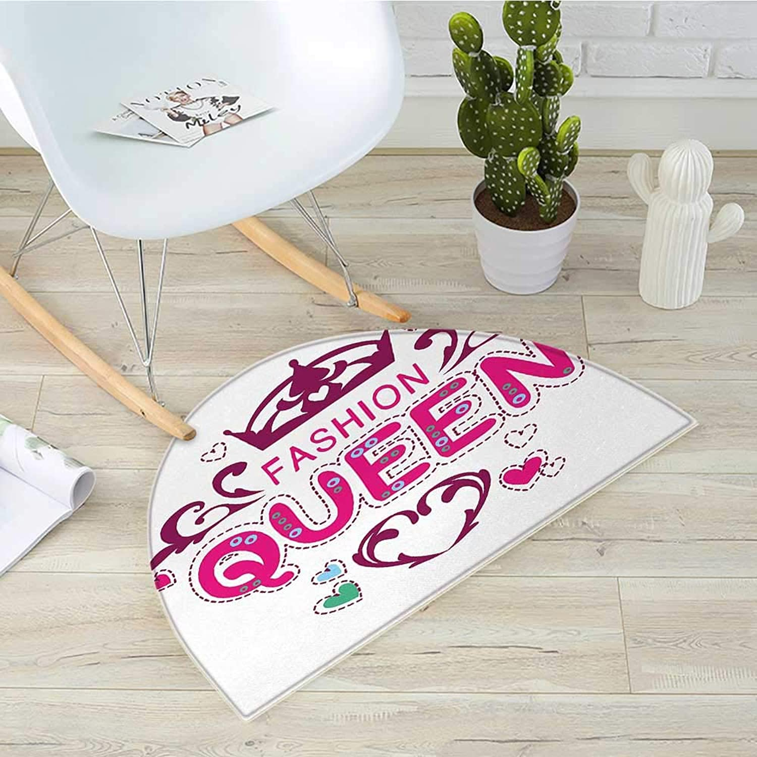Queen Half Round Door mats Girlish Print Fancy Fashion Queen Lettering Floral Heart Shaped Ornaments Cute Bathroom Mat H 39.3  xD 59  Dried pink Pink
