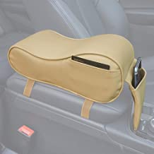 GSPSCN Center Console Armrest Pad Soft Memory Foam Pu Leather with Storage Pockets Seat Cushion (Beige)