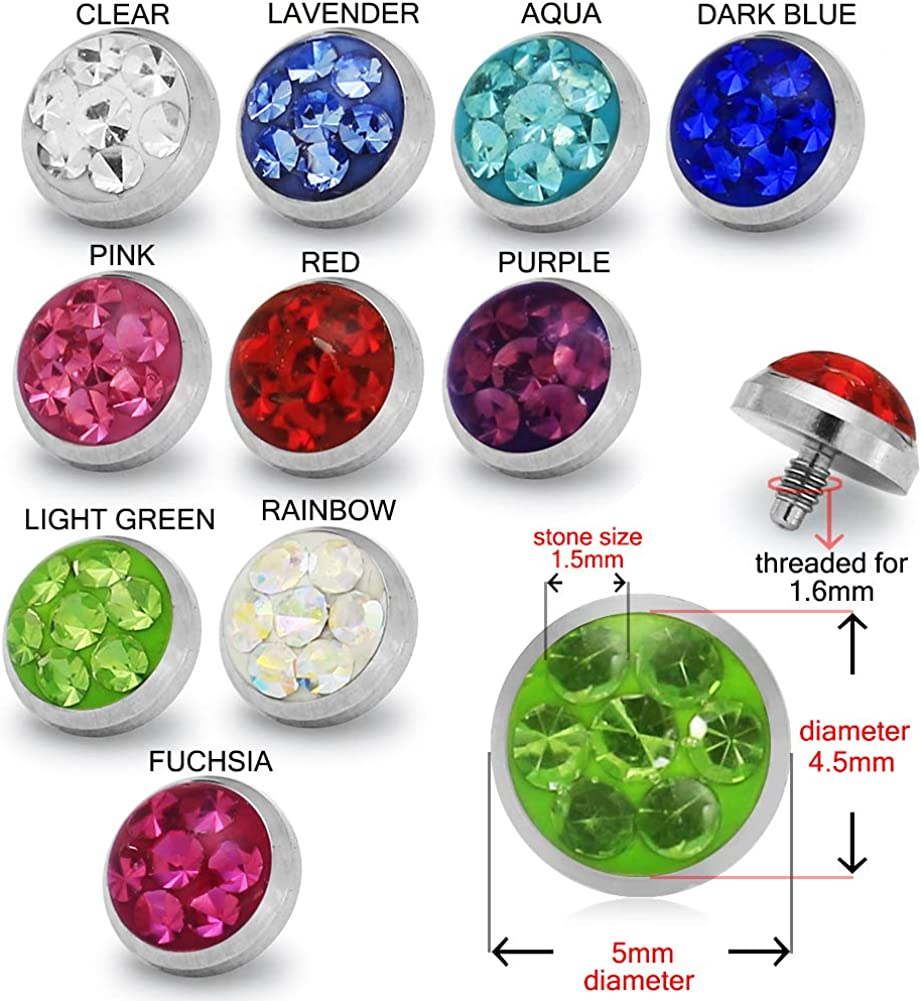 Dermal Anchors Crystal Stone Surgical Steel Tops Body Jewelry