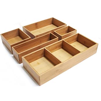 Seville Classics 5-Piece Bamboo Storage Box Set with Dividers, Dark Brown