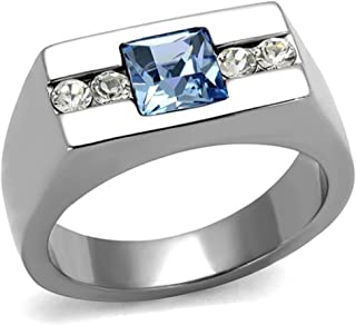 Vip Jewelry Co Men's Princess Cut Blue Montana & Clear Cz Silver Stainless Steel Ring Band Size 8-13