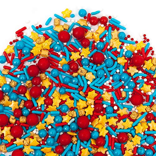 Sweets Indeed Marvelous Sprinklefetti 8 ounce, Red, Blue, Gold , Stars, Sprinkles for Baking