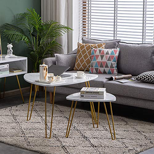 Sofa Side End Table, Tuankay 2 Set White Marble End Table Modern Coffee Table with Iron Feet for Living Room, Bedroom