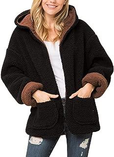 Women's Soft Sherpa Fleece Faux Fur Plush Teddy Bear Puffer Hoodie Reversible Warm Winter Coat Jacket