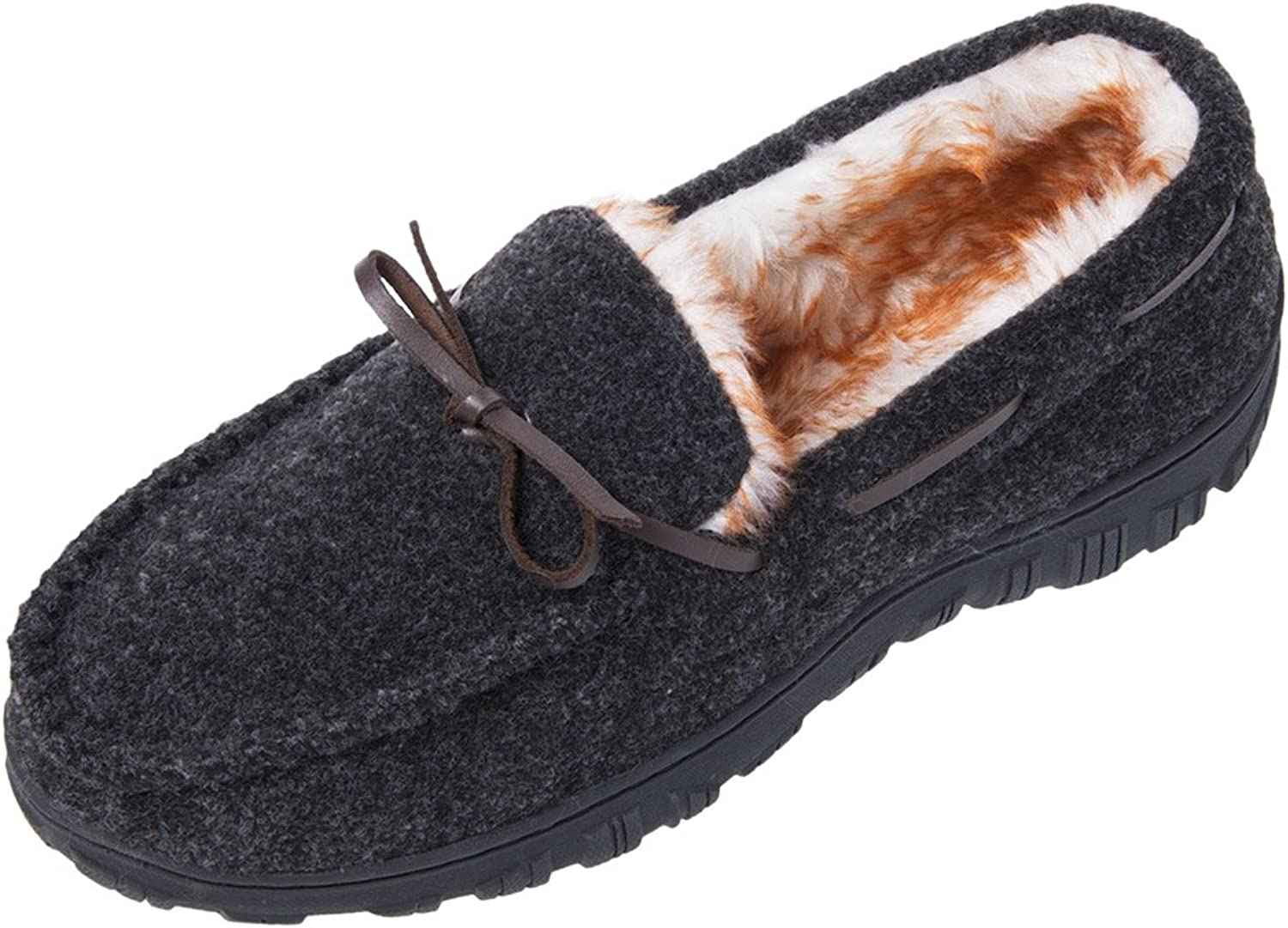 MIXIN Men's Casual Felt Vamp Faux Fur Lined Rubber Sole Indoor Outdoor Moccasin Flat Slipper shoes
