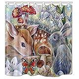 nymb ein Reh & Hase mit Schmetterling Blumen Pilz Bad Vorhang Polyester-175,3x 177,8cm Schimmelresistent-Dusche Vorhang Set Fantastische Dekorationen