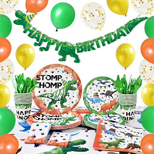 Watercolor Dinosaur Party Supplies - Dino Theme Birthday Party Decoration for Boys Birthday Banner Balloons Plates Cups Napkins Cutlery Bag Table Cover Tableware Utensils Serves 16 Guests 153 PCS