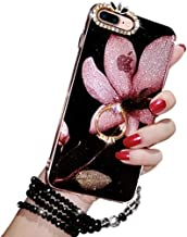 Black Lemon iPhone 8 Plus Kickstand Case, Luxury Bling Glitter Soft TPU Gel Beauty Shiny Flower Cute Candy Protective Cover Case for Girls with Wrist Strap (iPhone 8 Plus, Violet)