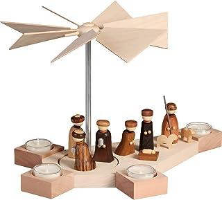 Seiffener Volkskunst German Christmas Pyramid Nativity Scene, 1-Tier, Height 23 cm / 9 inch, Natural, Original Erzgebirge ...