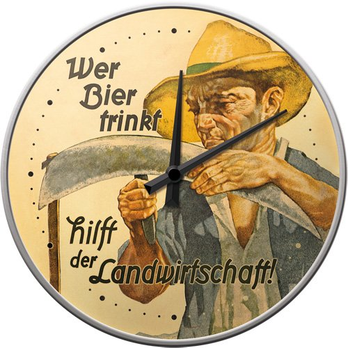 Nostalgic-Art 51034 Open Bar - Wer Bier trinkt hilft der Landwirtschaft, Wanduhr 31cm