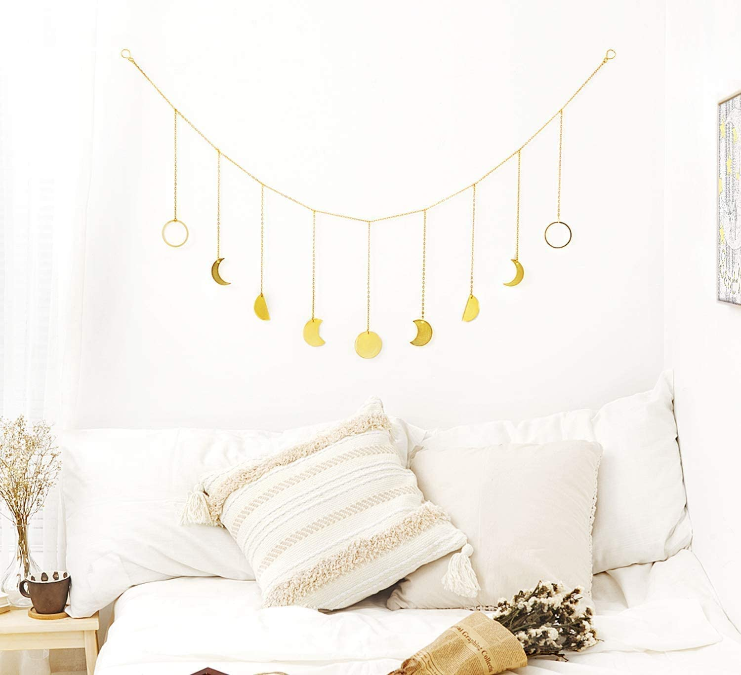 Long Garland Gold Metal Moon Decor Wall Decorations Home Living Room Apartment Or Christmas Viwipow Accents Boho Wall Decor Moon Phase Garland With Chains For Wedding Bedroom Sculptural Frames Holders Picture