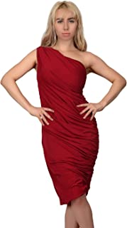 Women's One Shoulder Midi Cocktail Dress Ruched Side