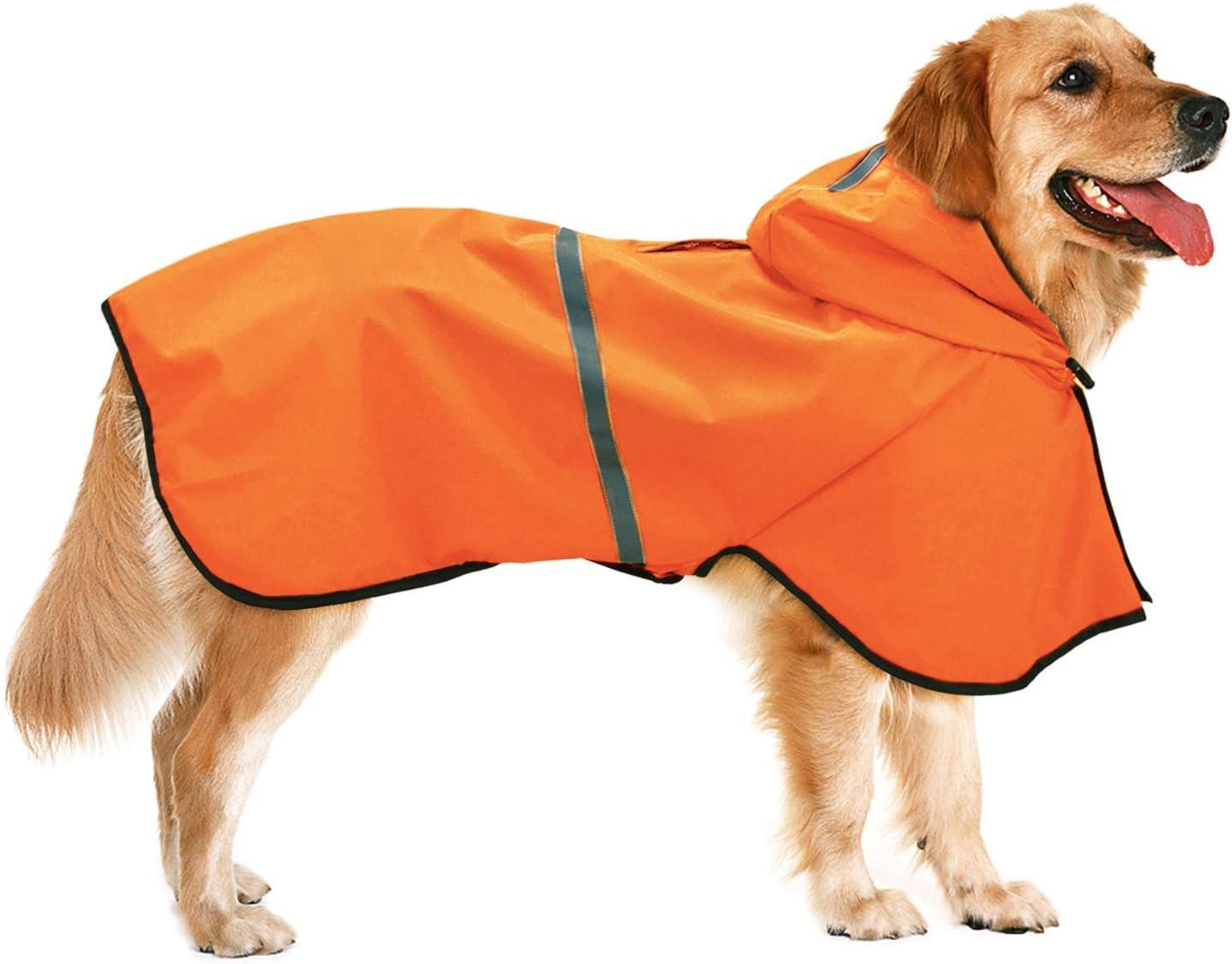 Dociote Impermeable para Perros - Ajustable Respirante Capa de Lluvia Chubasquero con Capucha & Collar Agujero Reflectante Chaleco para Mascotas Perro pequeño y Mediano y Grande 5XL Naranja
