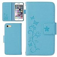 iPhone 11 Pro Max ケース 手帳型 型押し 蝶々 (カラー ライトブルー) カバー スマホケース 手帳ケース 手帳カバー スマホ apple スマートフォン