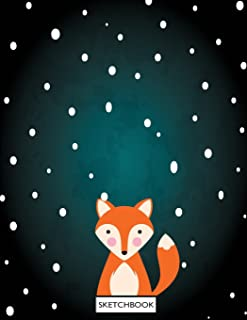 sketchbook: Cute fox on green cover (8.5 x 11) inches 110 pages, Blank Unlined Paper for Sketching, Drawing, Whiting, Jour...