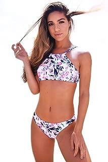 Women's Fresh Flower Printing Tank Padding Bikini Set Swimsuits