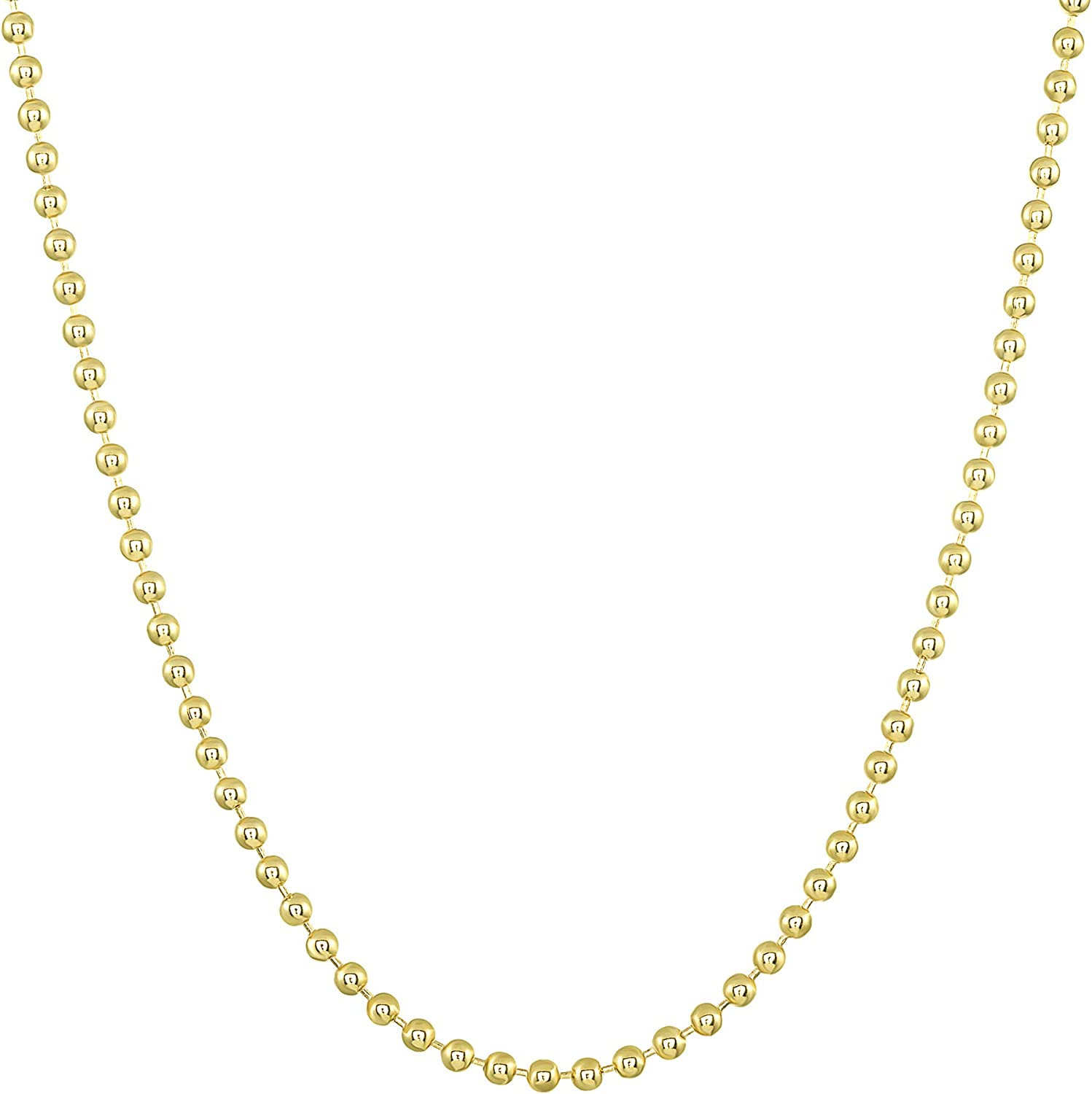 TOUSIATTAR 14k Gold-Filled Ball Chain 2 MM Necklace Gauge 12 Pendant for Jewelry 16-18 - 20-24 - 30-36 inches