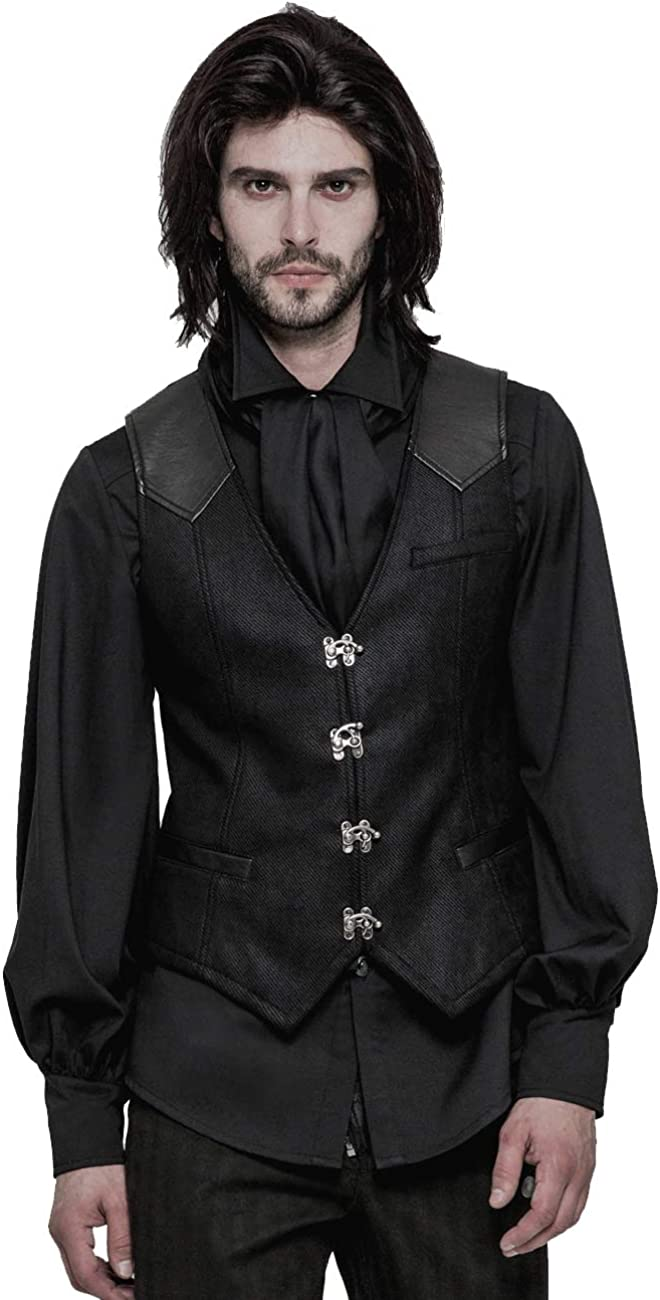 Punk Rave Mens 100% quality warranty! Black Single security Breasted Waistcoat Steam Gothic Vest
