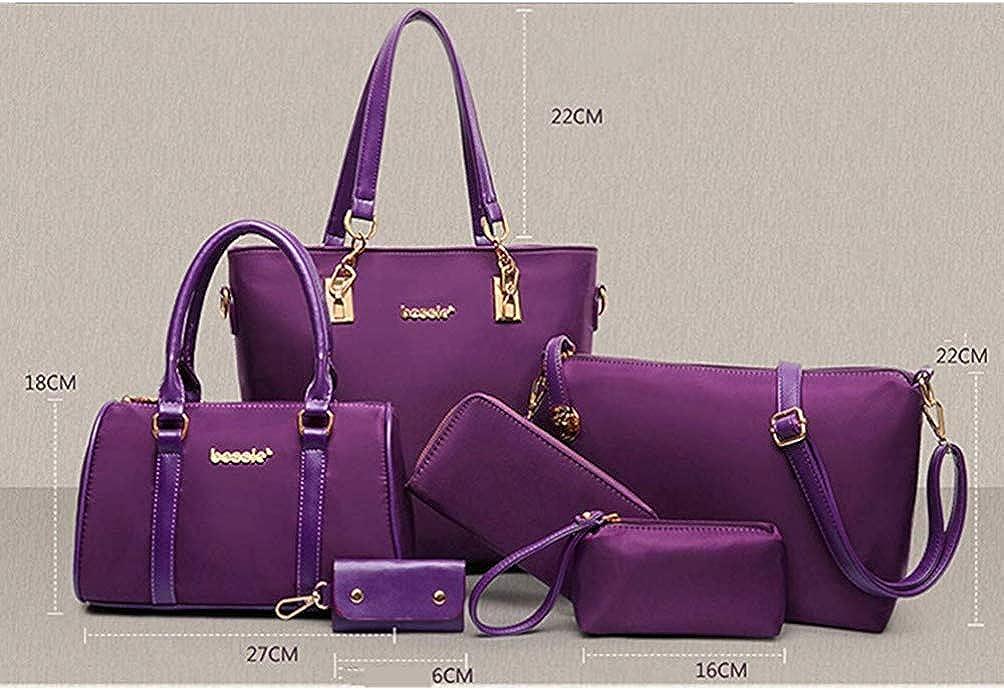 Juego de bolsos y bolsos para mujer 6 unidades color azul