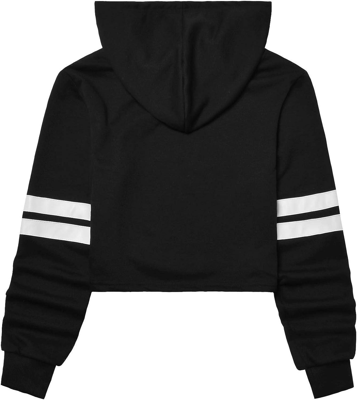 Perfashion Womens Loose Striped Long Sleeve Crop Top Pullover Sweatshirt Black White
