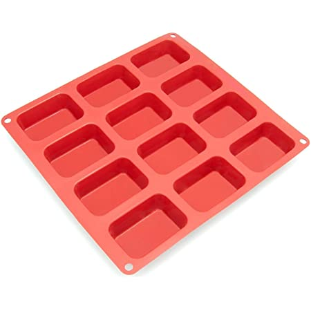 Darkpyro 12-Cavity Silicone Mould for Soap Making, Loaf, Muffins Pack of 1