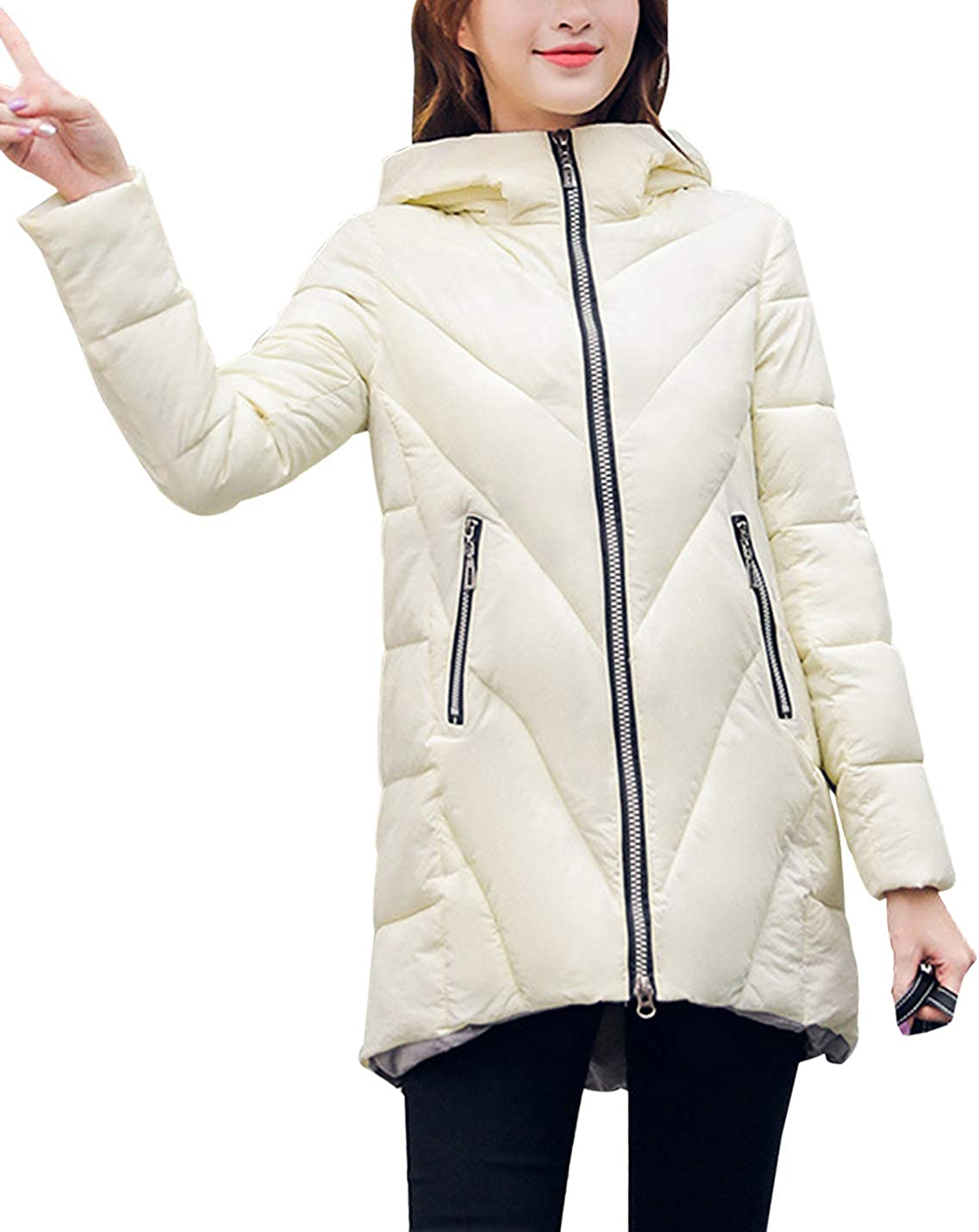 Yimoon Women's Mid-Length Hooded Chervron Quilted Puffer Coat Winter Warm Jacket