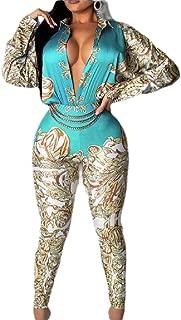 Women's One Piece Long Sleeve High Waist Floral Print Jumpsuit Romper