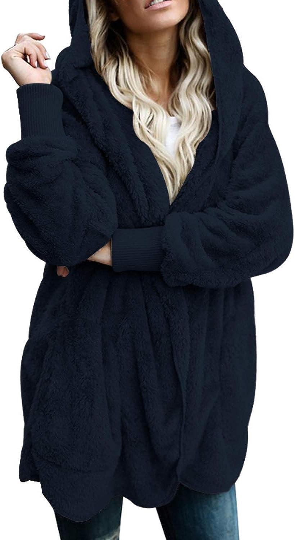 Chase Secret Women Long Sleeve Solid Open Front Hooded Cardigan Outwear Fleece Jacket with Pocket