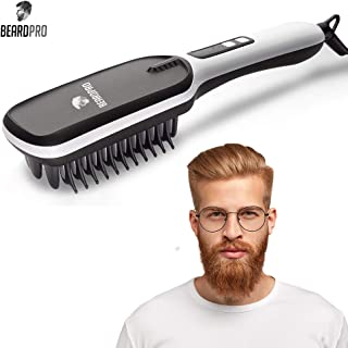 BeardPro Beard Straightening Brush - Professional Grade Anti Frizz Ionic Wet/Dry Hair Straightener with Ceramic Plate - Portable Heated Hairbrush & Styling Tool for Men