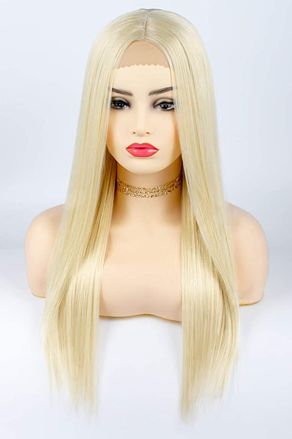 TOFAFA 613 Blonde Lace Front Wigs for Women,Long Straight Synthetic Wig,Daily Use or Cosplay Costume 26 inches