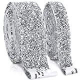 2 Rolls 6 Yards Self-Adhesive Crystal Rhinestone Ribbons Bling Stickers DIY Decoration Rolls for Arts and Crafts Car Phone Decorations Supplies (Silver)