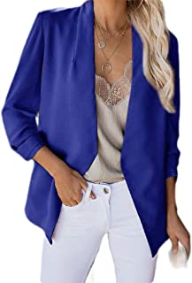 FSSE Women's Casual Open Front Cardigan Solid Color Loose Work Blazer Jacket Suit Coat
