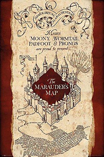 Harry Potter Póster Marauders Map/Mapa del Merodeador (61cm x 91,5cm) + 2 Marcos Transparentes con suspención
