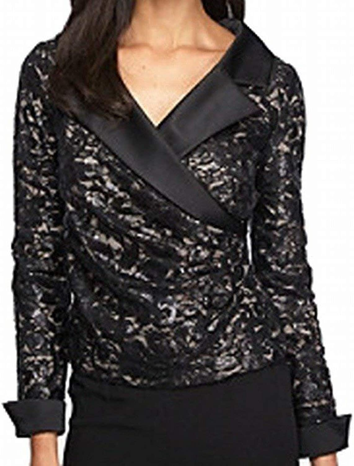 Alex Evenings Womens FauxWrap Embellished Blouse