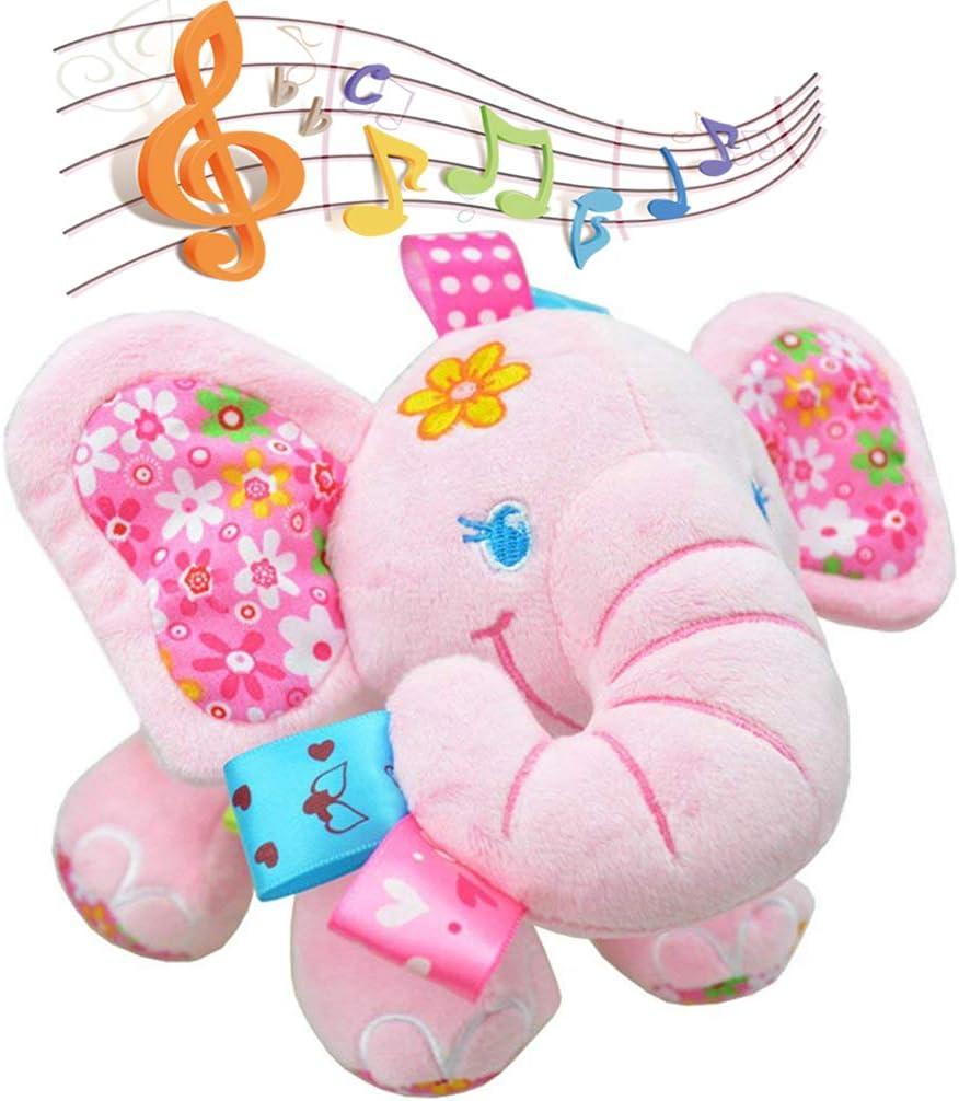 Zocita Baby Musical Elephant Stuffed Animal Toy, Bedtime Stroller Crib Plush Doll for Infant Toddler Kids(Pink)