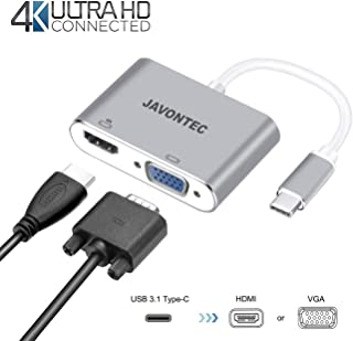 USB C to HDMI VGA Adapter, JAVONTEC 2 in 1 USB 3.1 Type C to VGA HDMI 4K UHD Adapter Converter Compatible Surface Go, MacBook Pro 13 15 (2016 2017), Google Chromebook, HP Spectre, Samsung S8/S9 More