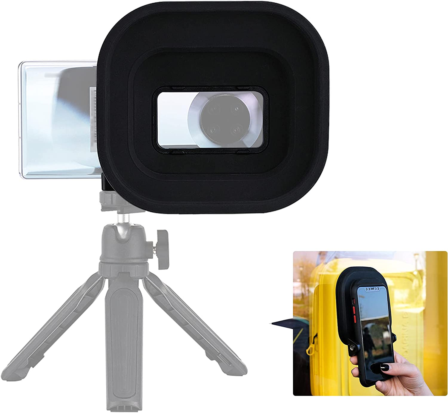 Anti-Reflection Lens Hood for Camera on The Center of The Phone,Smartphone Clip Tripod Mount for Mate 40 RS 40 Pro Motorola Moto G7 Plus E7 G Play,Cell Phone Hood for Photos Video Through Glass