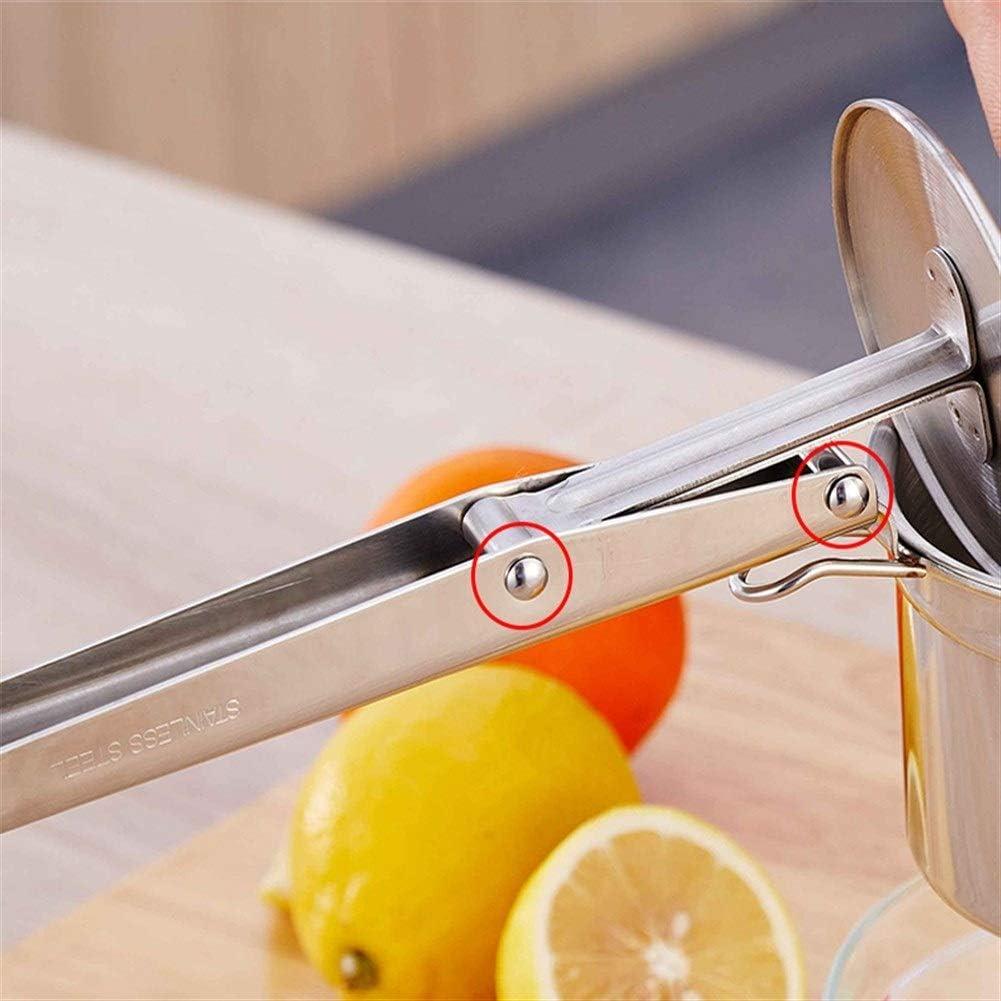 Manual Multi-función de Hogares de Acero Inoxidable Exprimidor Exprimidor Del Limón Patata Exprimido Barro Fácil de Limpiar (Color : Silver) Silver