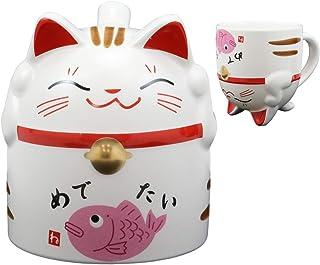 Ebros Gift Topsy Turvy Lucky Cat Maneki Neko with Japanese Calligraphy of Happiness Ceramic Coffee Latte Espresso Cappucci...