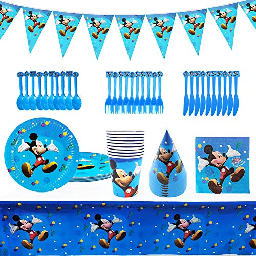 NALCY Mickey Partygeschirr, Gebutstag Party Set Minnie Kindergeburtstag Deko Set Messer und Gabel zum Kindergeburtstag Papierservietten Und Partystrohhalme für Hochzeit, Jubiläum, Geburtstag