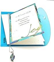 Smiling Wisdom - Abalone & Cubic Zirconia Pendant - A Season of Joy New Journey Greeting Card Gift Set - Abalone Leaf Necklace - Graduate, New Job, Retire, Congrats, Goodbye - Platinum Plated