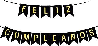 Feliz CUMPLEANOS Happy Birthday Banner Party Decorations, Black