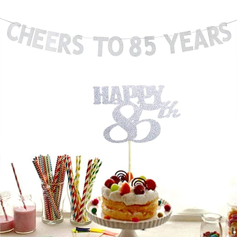Cheers to 85 Years Banner and Happy 85th Cake Topper Silver Glitter for 85th Birthday Wedding Anniversary Party Decorations Supplies