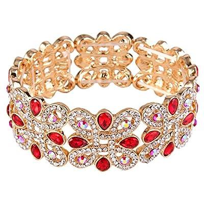 EVER FAITH Women's Crystal Elegant Wedding Knot Tear Drop Elastic Stretch Bracelet Red Gold-Tone