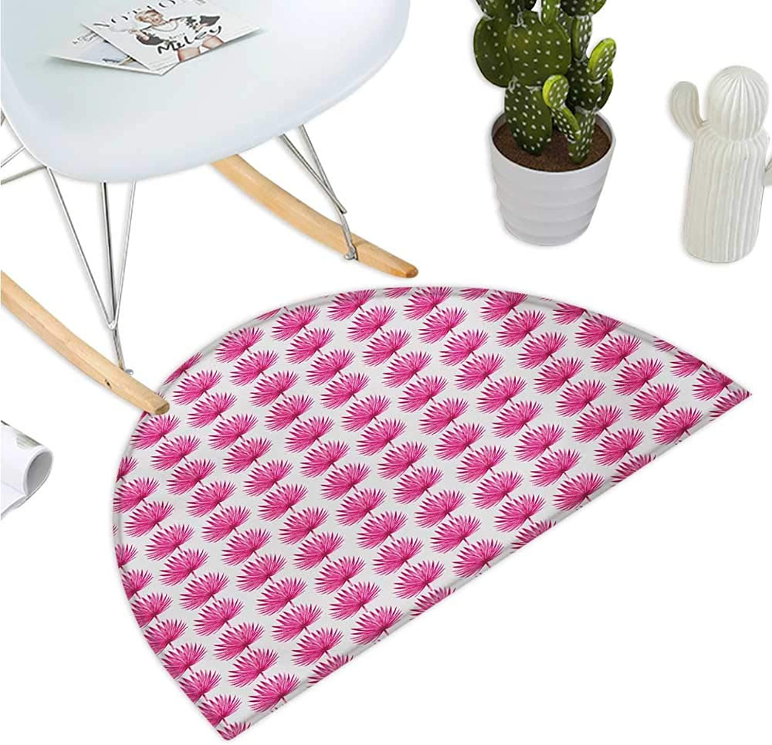 Pink and White Semicircular Cushion Botanical Hawaii Jungle Pattern with Palm Leaves Exotic Rainforest Halfmoon doormats H 39.3  xD 59  Magenta and White