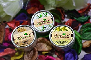 Arvedikas Natural Solid Perfume Beeswax/Mini Jar/Floral Fragrance/Essential Oil Blend Perfume/Organic Vegan Travel Perfume/Women Aromatic Scent / 6gm (Set of 3pc) (Myrrh,Lily,Ylang-Ylang)