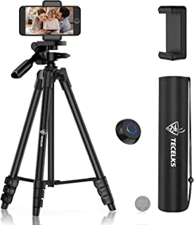 Lightweight Tripod 55-Inch, Camera Phone Tripod Stand with Bluetooth Remote, Phone Mount, Carrying Bag and Replacement Bat...